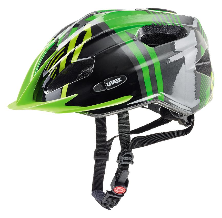 Cyklistická přilba UVEX QUATRO JUNIOR, 2017 GREEN-ANTHRACITE (pro obvod hlavy 50-55 cm, model 2017)