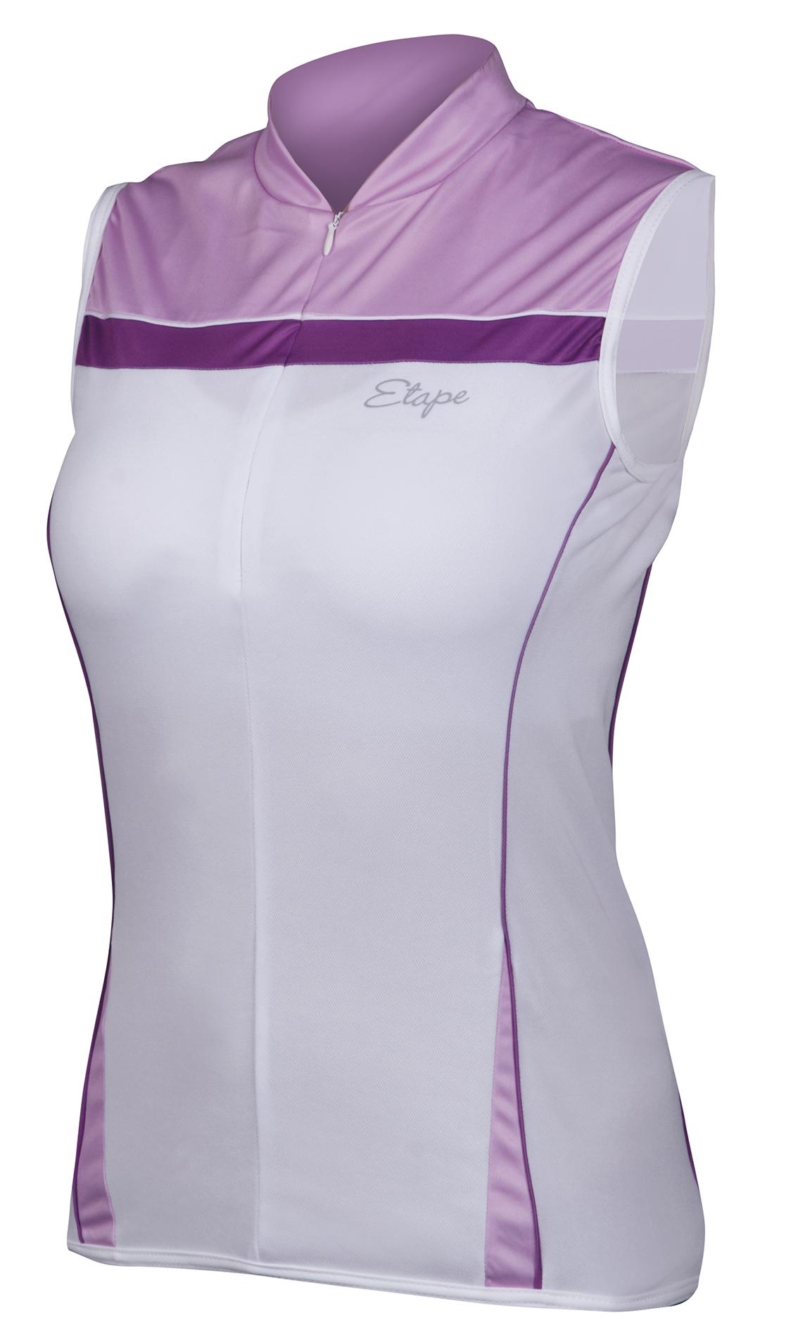 Dámský cyklistický dres ETAPE Roxy, vel. S, bílá/fialová, bez rukávů, model 2017 (Dámský dres Etape, přední skrytý zip, bez rukávů)