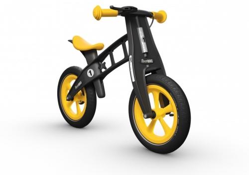 """Odrážedlo FIRST Bike """"Limited edition-yellow"""" - ZDARMA dopravné, košík a zvonek (varianta s ruční brzdou, barva žluto-černá)"""