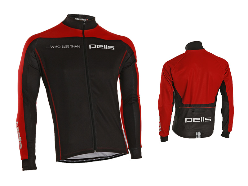 Pánský dres PELL'S WHO ELSE, vel. M, červená, dlouhý rukáv (Pánský cyklistický dres PELL'S, vel. M, dlouhý rukáv, barva červená dle vyobrazení!)