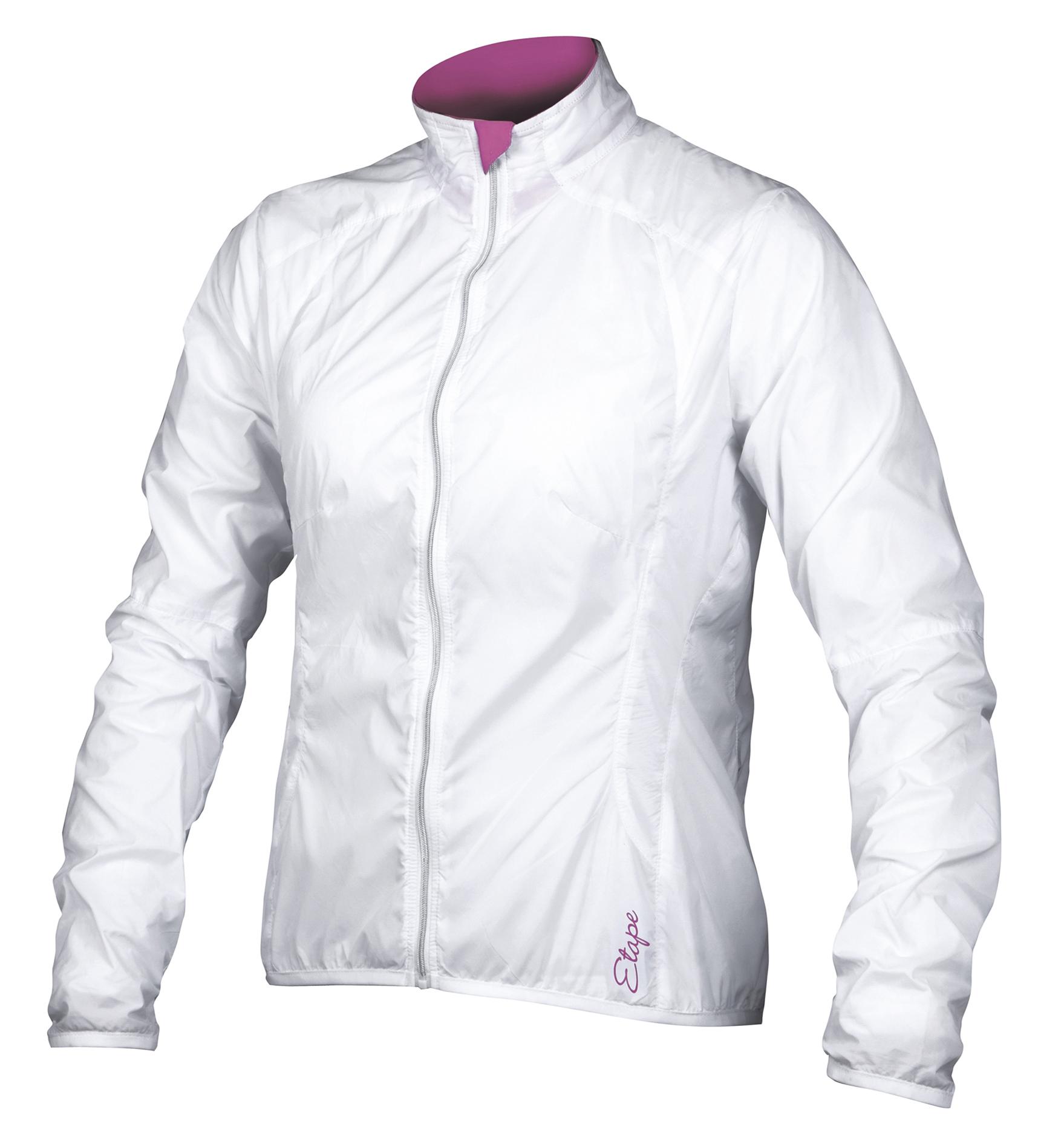 Dámská větrovka ETAPE Gloria, vel. S, bílá/růžová, model 2017 (Dámská větrová bunda Etape, zadní kapsa na zip)