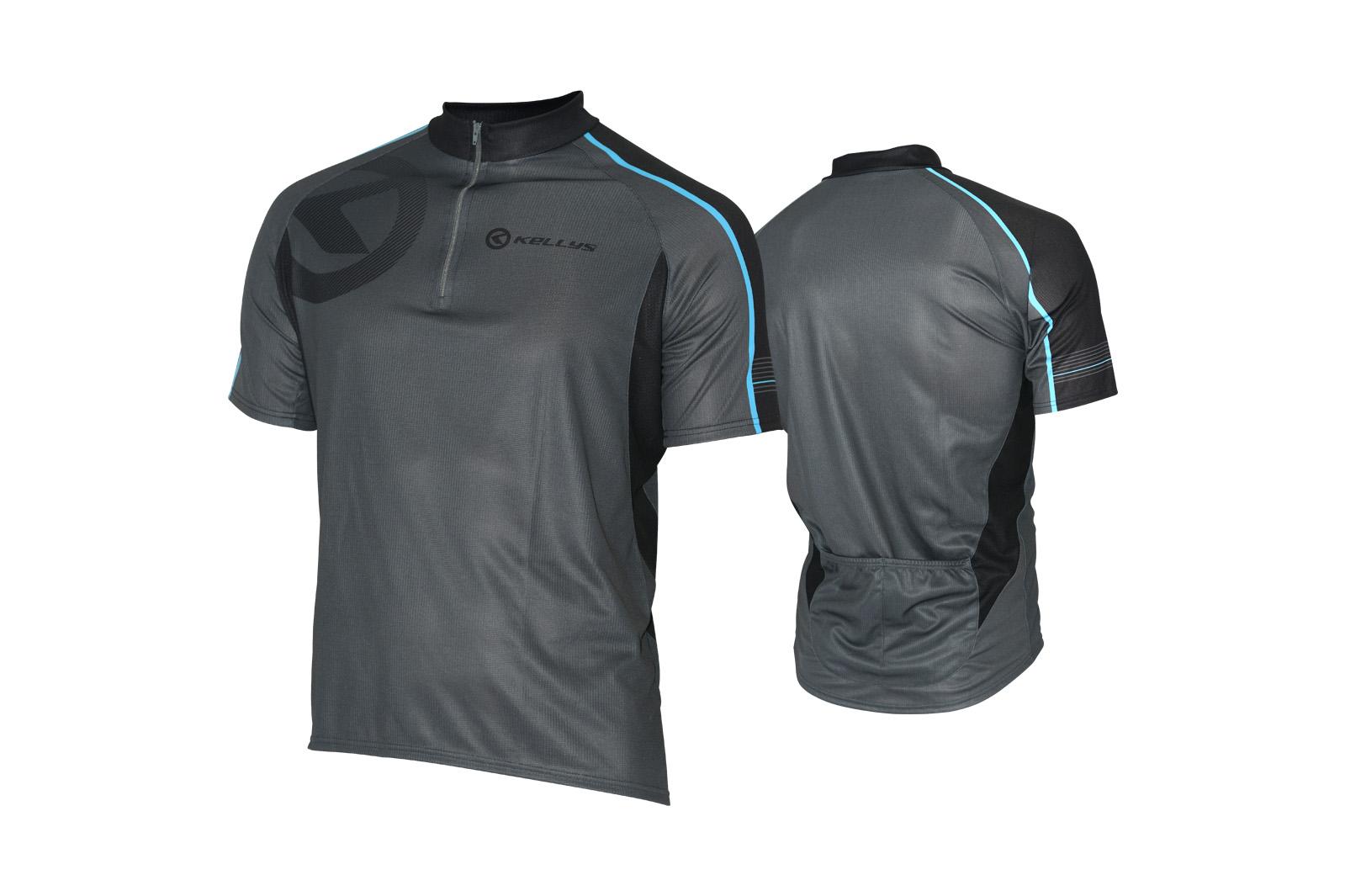 Pánský dres KELLYS PRO Sport, vel. L, šedo-modrá, krátký rukáv (Pánský cyklistický dres KELLYS, vel. L, krátký rukáv, barva šedá/modrá dle vyobrazení!)