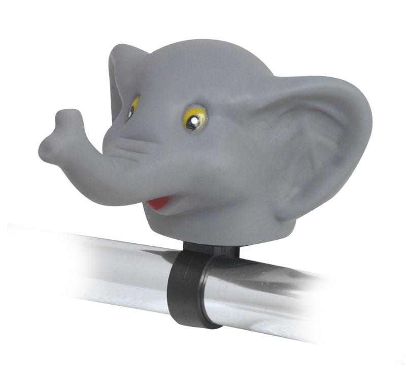 Dětský zvonek, klakson - Slon (dětské gumové pískací zvířátko na řidítka)