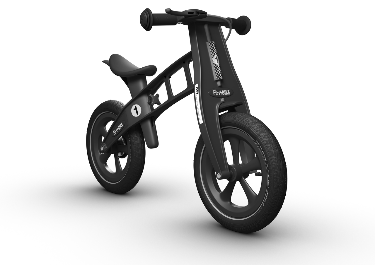 """Odrážedlo FIRST Bike """"Limited edition-Black"""" - ZDARMA dopravné, košík a zvonek (varianta s ruční brzdou, barva černá)"""