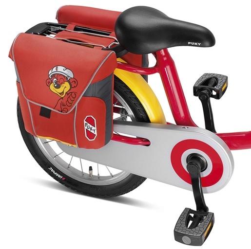 Taška, brašna na zadní nosič Puky DT 3 - barva červená (Dvojitá brašna, taška pro jízdní kola s držadlem)