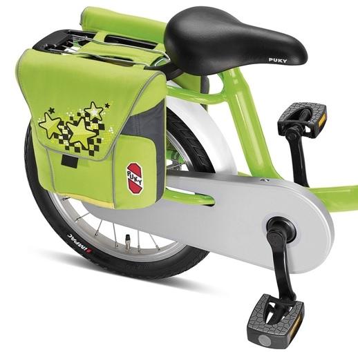 Taška, brašna na zadní nosič Puky DT 3 - barva zelená-kiwi (Dvojitá brašna, taška pro jízdní kola s držadlem)