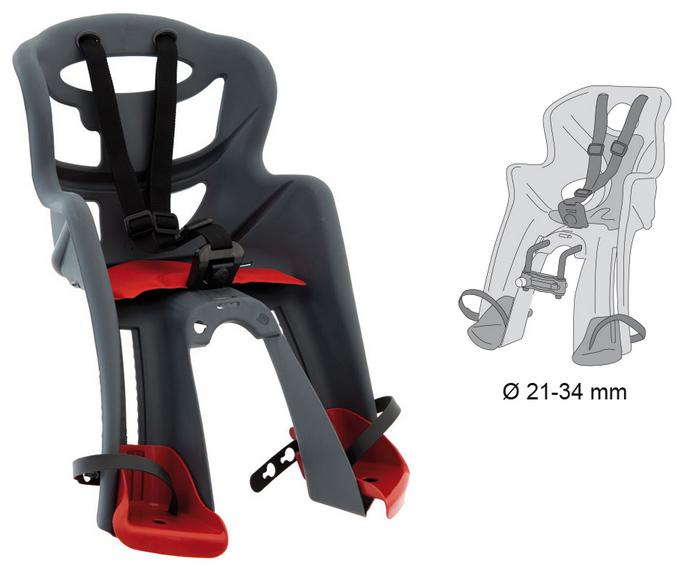 Cyklosedačka Bellelli TATOO HANDLEFIX šedo-červená - nyní SLEVA (Dětská přední sedačka na kolo od tradičního italského výrobce Bellelli. )