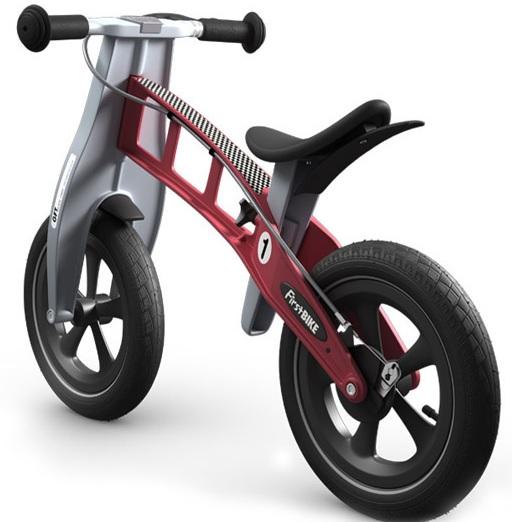 Odrážedlo FIRST Bike RACING red - ZDARMA dopravné, košík a zvonek (varianta s ruční brzdou, barva červená)