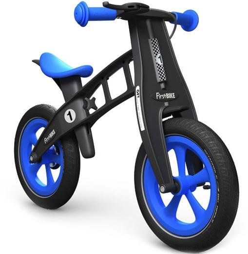 """Odrážedlo FIRST Bike """"Limited edition-blue"""" - ZDARMA dopravné, košík a zvonek (varianta s ruční brzdou, barva modro-černá)"""