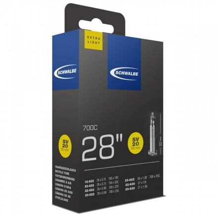 "Schwalbe duše 28"" SV20 50mm 18/25-622/630 galuskový ventilek light"