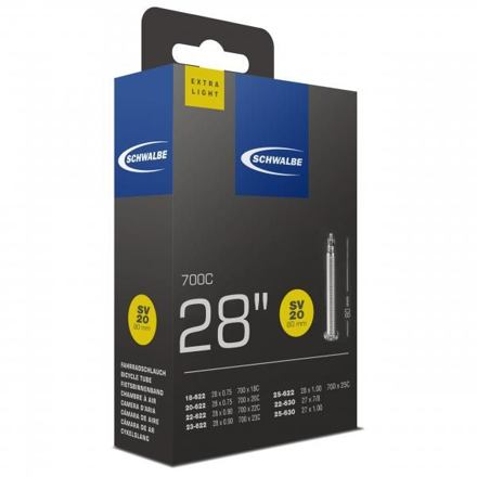 "Schwalbe duše 28"" SV20 80mm 18/25 -622/630 galuskový ventilek light"