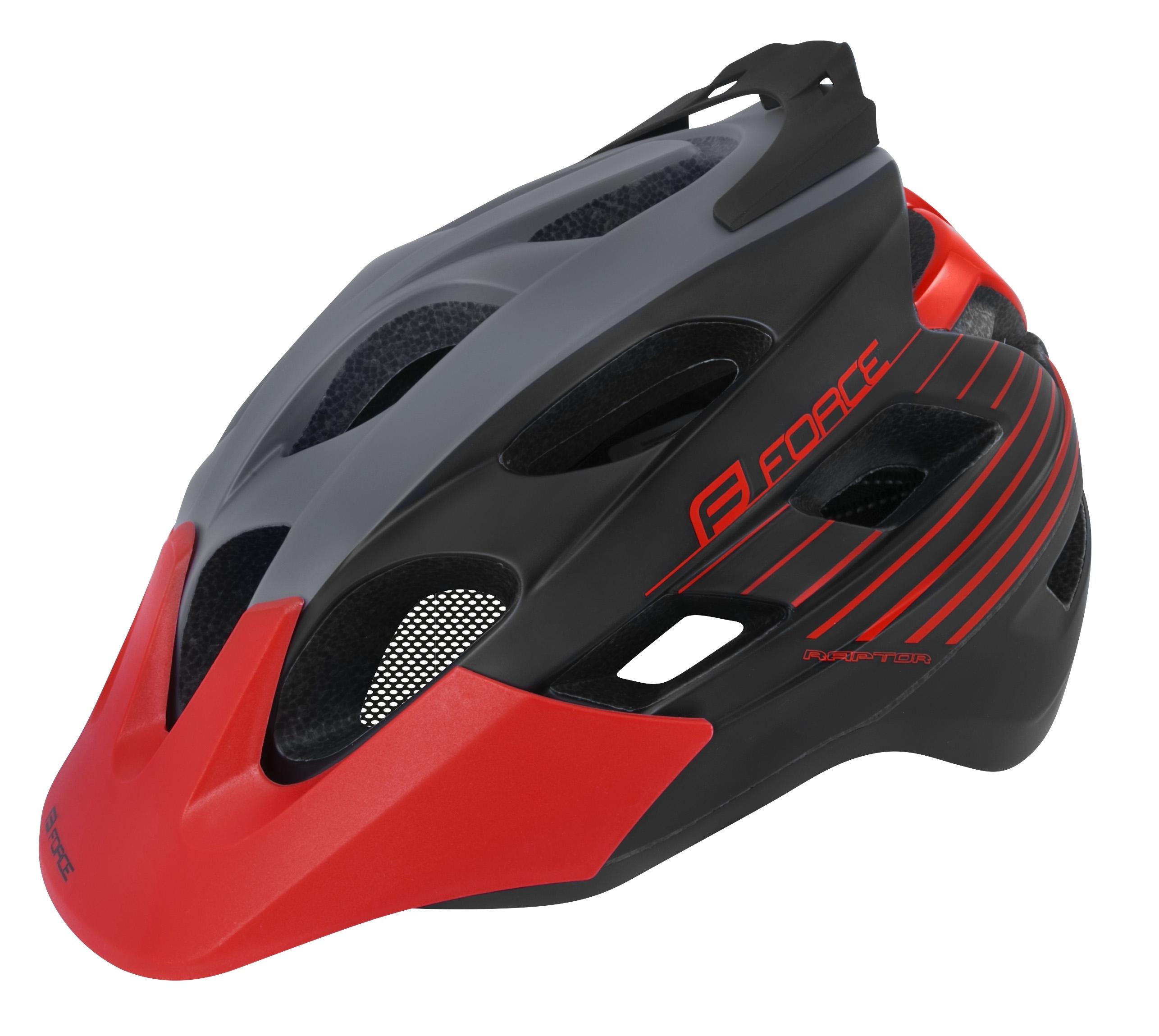 5fb286f12ef9f Cyklistická přilba FORCE RAPTOR MTB, barva šedo-červená mat. L-XL